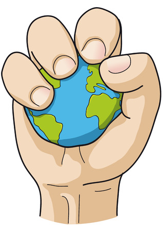 environmental issues: hand grips the world Illustration
