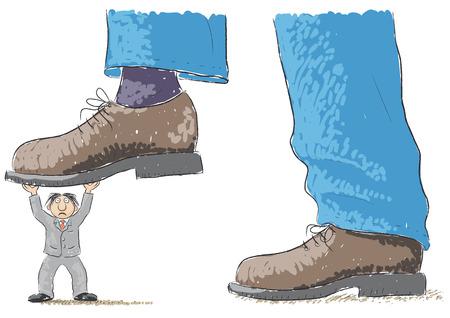 foot tramples man Illustration