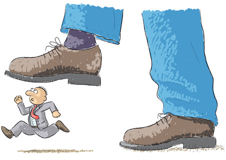 overwhelm: foot tramples man Illustration