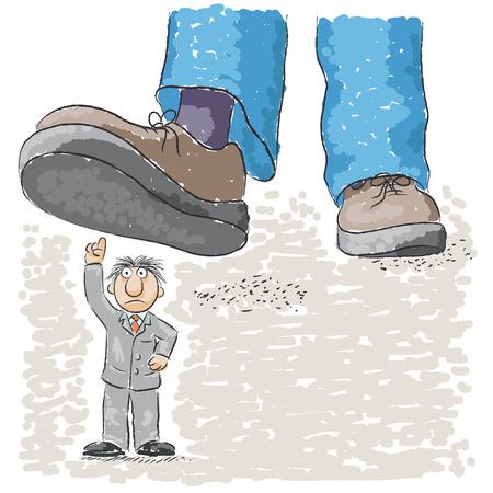 oppressed: foot tramples man Illustration