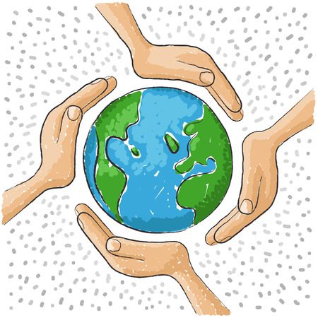 save planet: hand around the world
