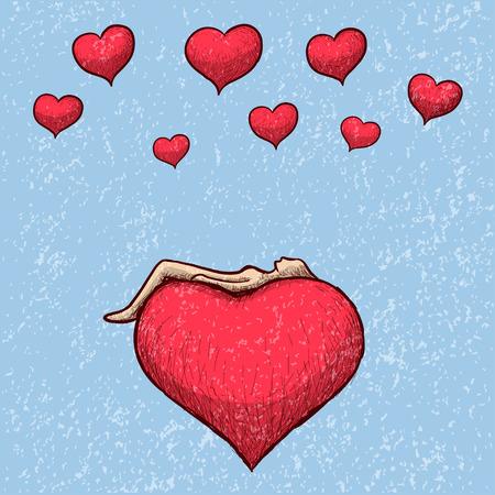 lying: lying above the heart