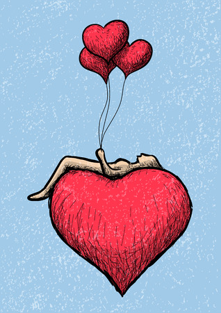 lying in: lying above the heart