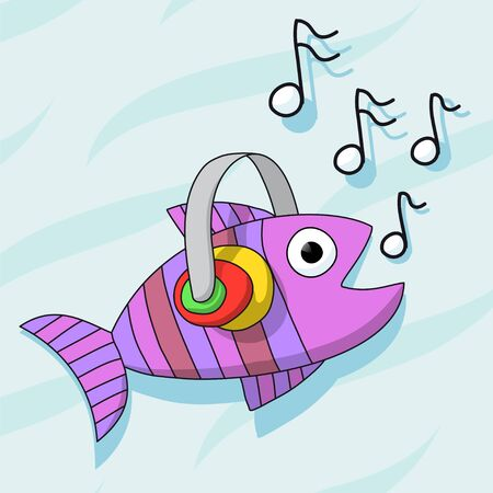 listening to music: Fish listening music with headphones