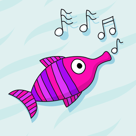 whistling: fish trumpet whistling Illustration