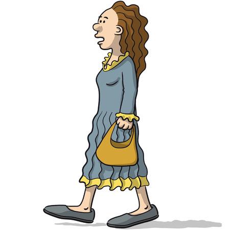talks: woman character walks and talks