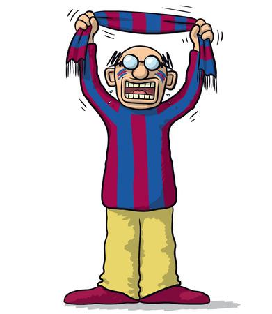 supporter: Barcelona soccer supporter Illustration