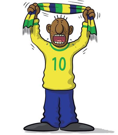supporter: Brazil soccer supporter Illustration
