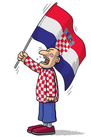 supporter: Croatia soccer supporter Illustration
