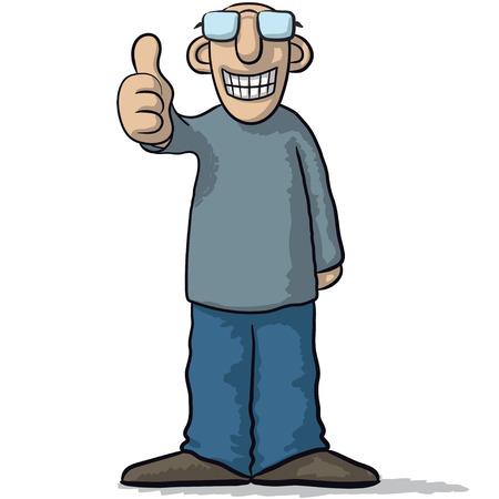un personaje con el pulgar arriba