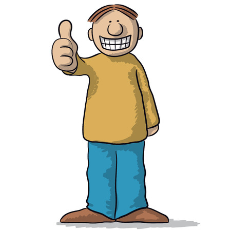 fake smile: a character with thumb up
