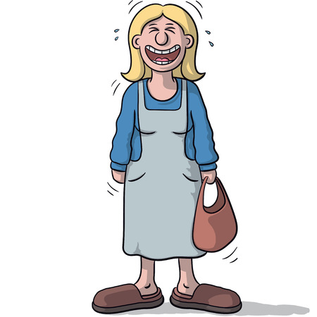 a female character with funny smile