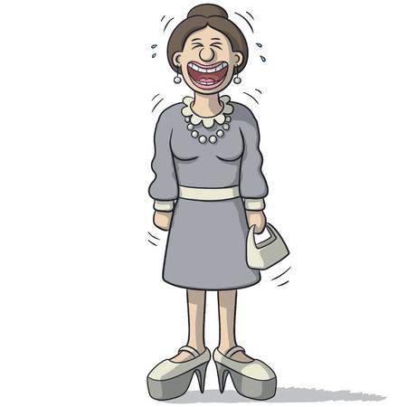 reir: un personaje femenino con sonrisa divertida