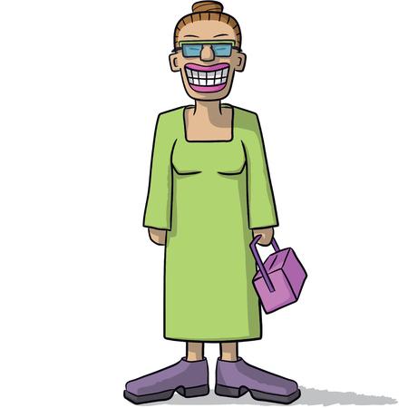 woman smile: cartoon woman with a fake smile