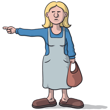 cartoon woman with a suspicious look indicates Illustration