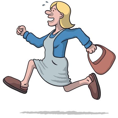 llegar tarde: ilustración de una mujer que se ejecuta