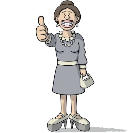 pretty smile: cartoon woman with thumb up