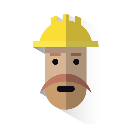 job security: workers face icon with helmet