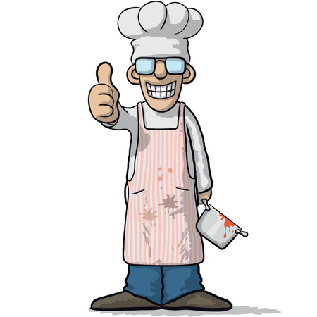 happiness or success: smiling chef with thumb up