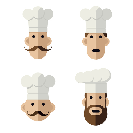 chefs cooking: Icons of chef heads
