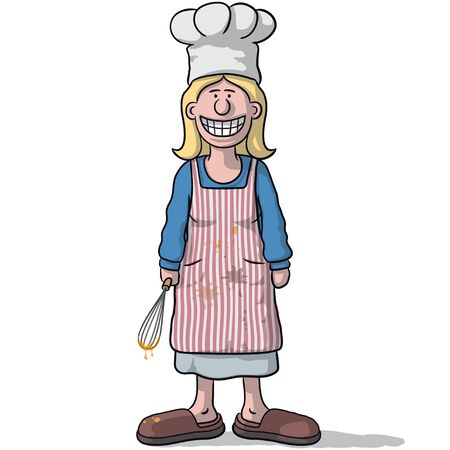 chefs cooking: smiling woman cook Illustration