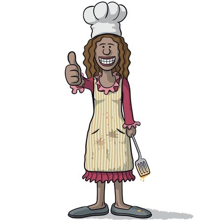 happiness or success: smiling woman chef with thumb up