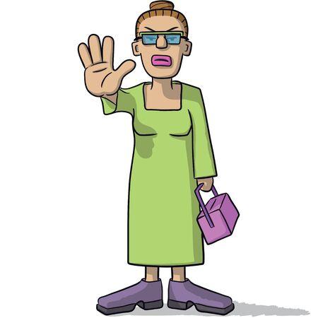 deny: woman cartoon sign of alt Illustration