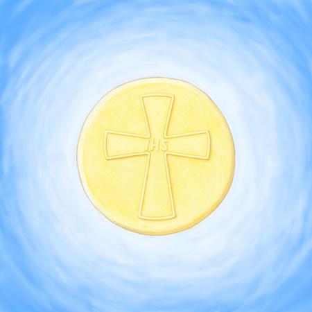 Eucaristía de acogida Foto de archivo - 75731933