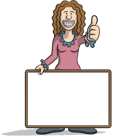 happiness or success: Woman with a signboard