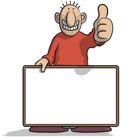 happiness or success: man with a signboard Illustration