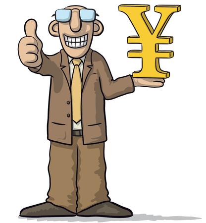 man with yen sign Vector Illustration