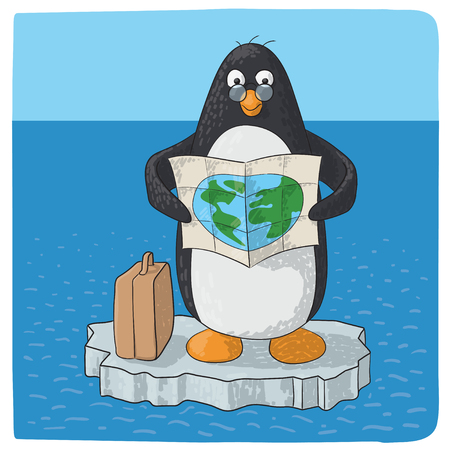 penguin struggling with climate change Illustration