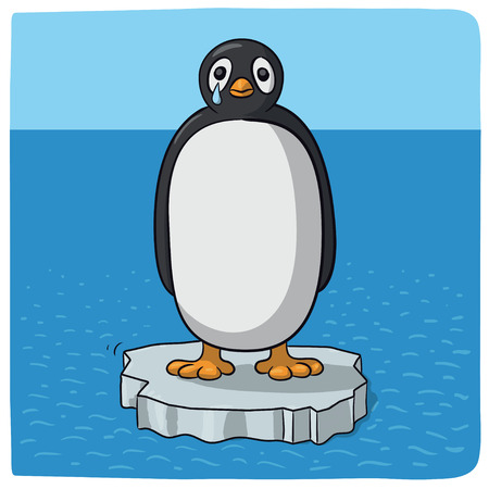 penguin crying for climate change Illustration