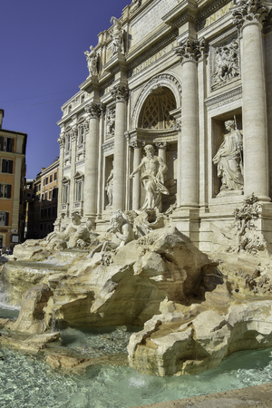 The Trevi Fountain is the largest and one of the most famous fountains in Rome, Italy. Editorial