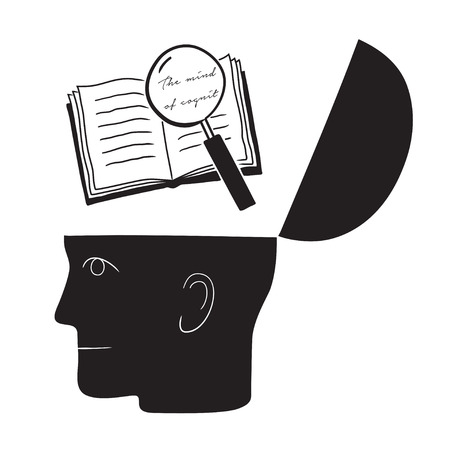 Symbolic drawing of head and knowledge with culture Vektoros illusztráció