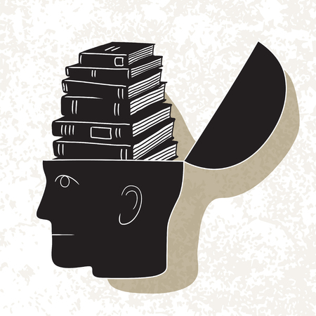 Symbolic drawing of head and knowledge with culture