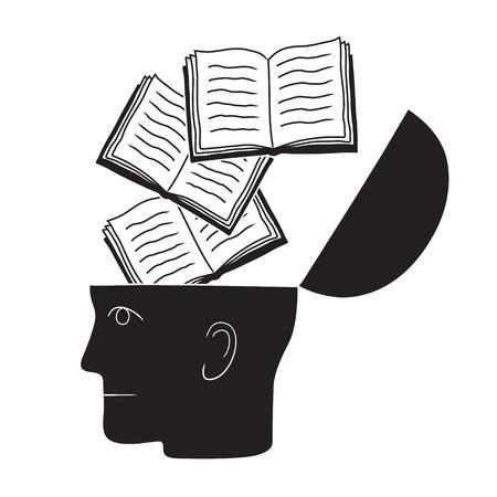 Dibujo simbólico de cabeza y conocimiento con cultura