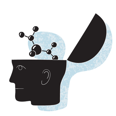 Symbolic drawing of a head and a chemistry thought