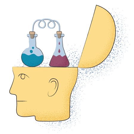 Symbolic drawing of a head and a chemistry thought Vetores
