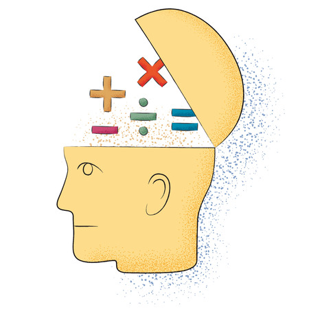 Symbolic drawing of a head and a mathematical thought