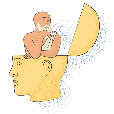 Symbolic drawing of the knowledge of philosophy Illustration