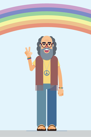 illustration of a smiling hippie with the peace symbol Stock Vector - 129609824
