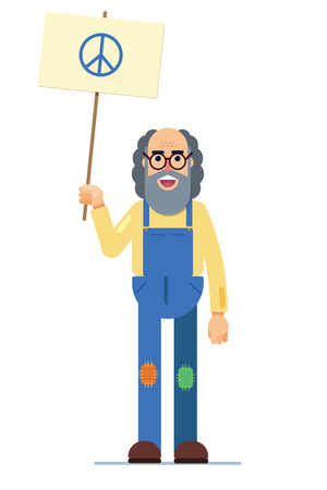 illustration of a smiling hippie with the peace symbol