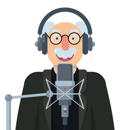 person speaking into microphone and wearing headphones Illustration