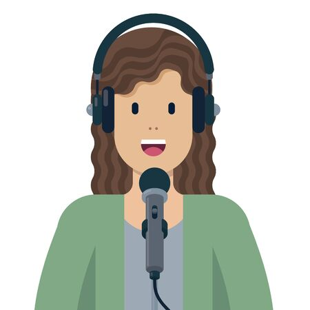 Woman speaking into microphone and wearing headphones