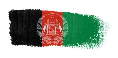 brush stroke on canvas Afghanistan flag Archivio Fotografico