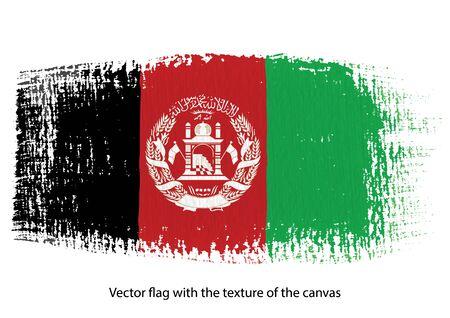 Vector brush stroke on canvas Afghanistan flag Vettoriali