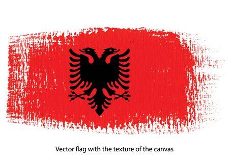 vector brush stroke on canvas Albania flag Vettoriali