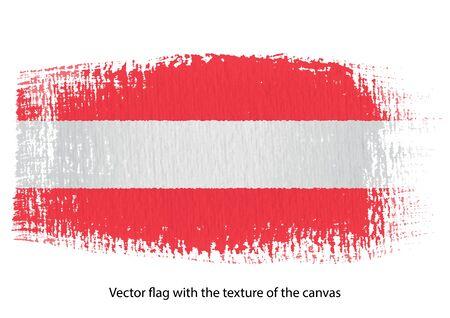 Vector brush stroke on canvas Austria flag