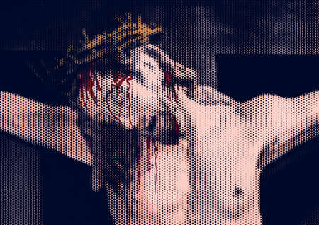 Vector illustration of Jesus Christ crucified on the cross